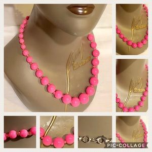 Jewelry - Vintage Hot Pink Plastic Beaded Necklace